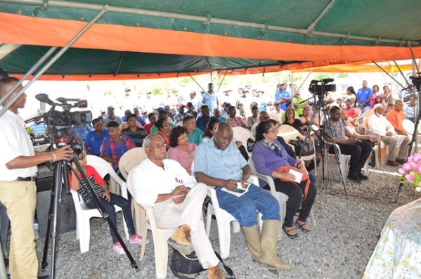A section of those gathered for the commissioning ceremony of the drainage pump at Joppa Number 43 Corentyne, Berbice