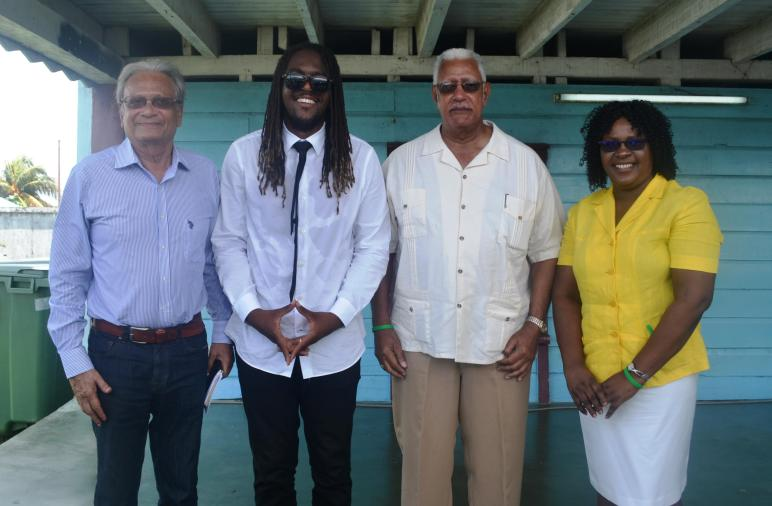 From left to right Education  Minister Dr. Rupert Roopnarine, One Health Celebrity patron BayC(T.O.K) ,  Agriculture Minister Noel Holder and Minister within the Ministry of Pub.  Health Karen Cummings