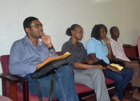 Chief Hydromet Officer Dr. Garvin Cummings (left end) with other MOA staff during the workshop