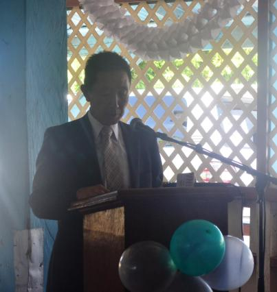 Japanese Ambassador H.E. Mitsuhiko Okada delivering remarks during thr handing over ceremony for the East Demerara Water Conservancy Project
