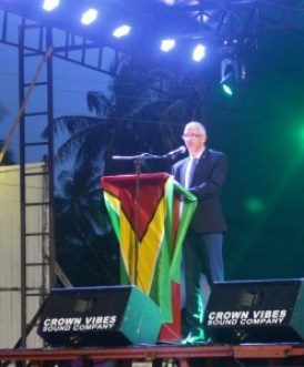 Mnister of Business Dominic GAskin while delivering remarks at the opening of teh Berbice Expo