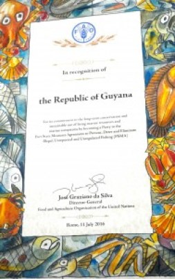 certificate-signed-by-the-director-general-of-the-fao-mr-jose-graziano-da-silva-recognizing-guyanas-commitment-to-the-long-term-conservation-and-sustainable-use-of-marine-resources-and-ecosystem