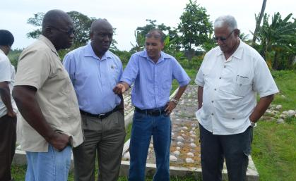 Minister Holder accompanied by Permanent Secretary, George Jervis, GLDA CEO Mr. Nigel Cumberbatch and Hope Estate Manager, Ricky Roopchand