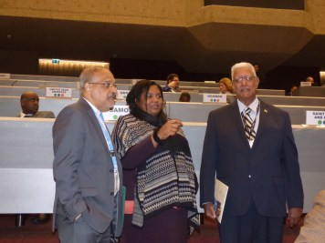 Agriculture Minister, Noel Holder, Registrar of PTCCB, Trecia David and Ambassador of Guyana to the United Nations Organization (Geneva), Dr. J.R. Deep Ford