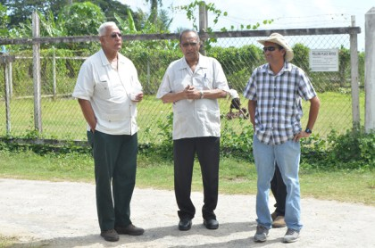 Minister Noel Holder with Hope Estate Manager Ricky Roopchand and Chairman of the Board of Director Cecil Seepersaud.