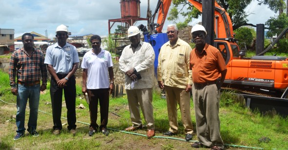 From left-NDIA Engineer, Kenny Seurattan, GNIC Shipyard Nanager, Jagdesh Ranjag, NDIA CEO, Fredrick Flatts, GNIC CEO, Clinton Williams, Agri. Minister Noel Holder and GNIC Shipyard Consultant, Ronald Bourne