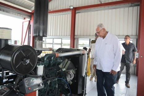 Minister of Agriculture, Noel Holder during a tour of the Buxton Friendship Pump Station.