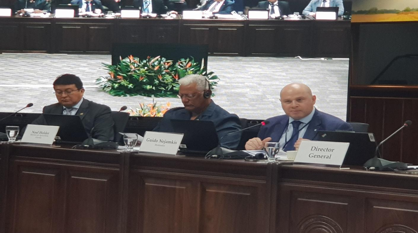 Minister of Agriculture addressing the Conference of the Ministers of Agriculture of the Americas