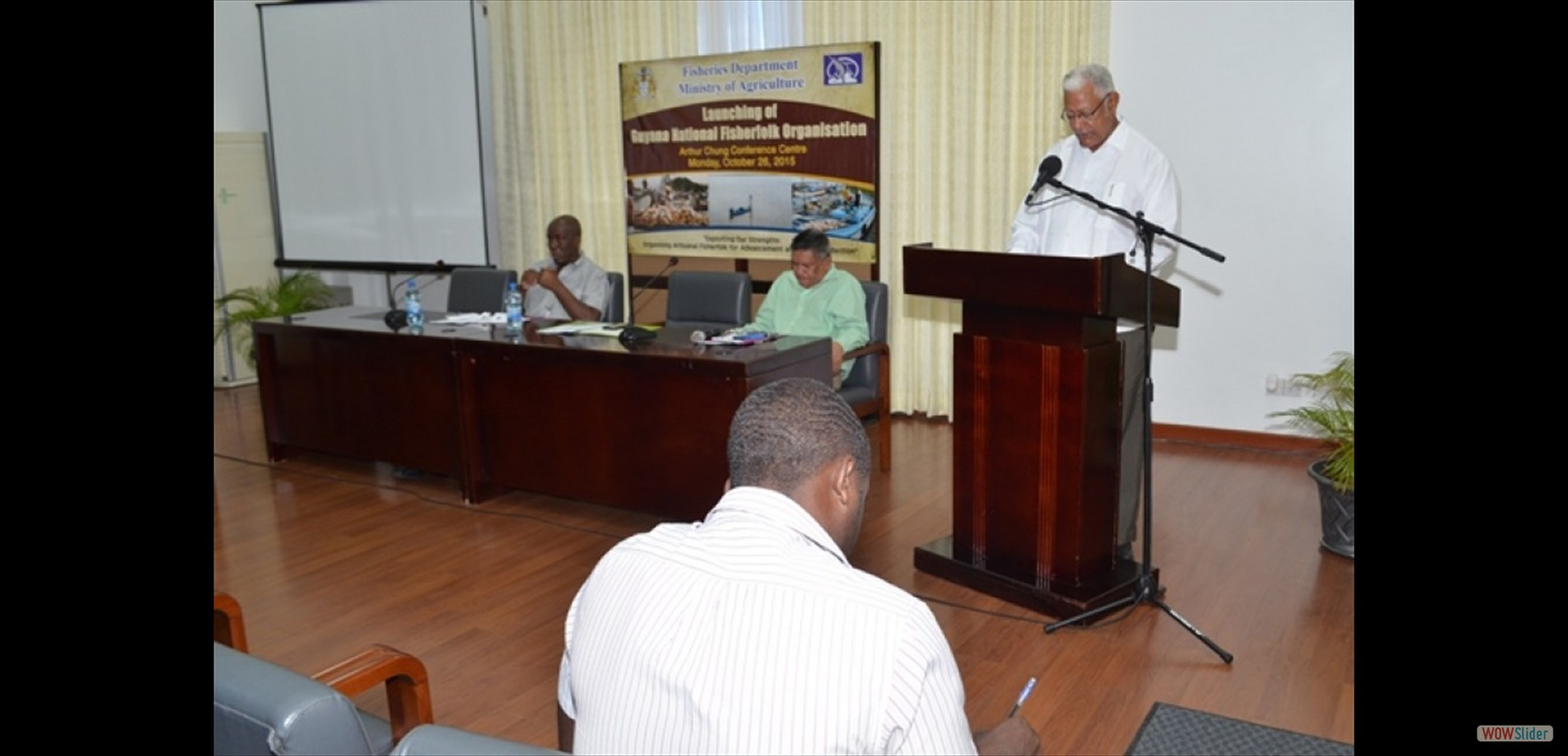 Agriculture Minister Noel Holder addressing fisherfolks at the launch of the Guyana National Fisherfolks Organisation