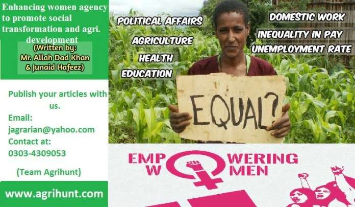 Enhancing women agency to promote social transformation and agricultural development