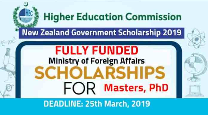 HEC New Zealand Government Scholarship 2019 [Fully Funded] by the Ministry of Foreign Affairs & Trade