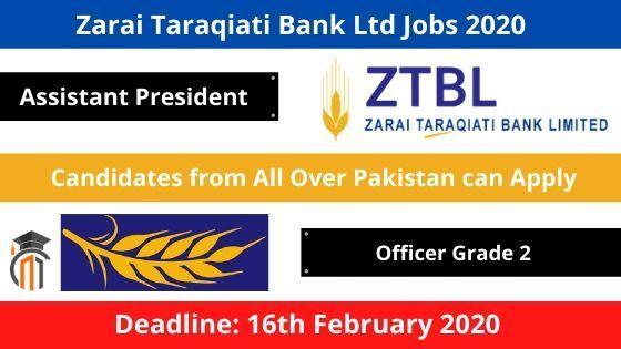 Zarai Taraqiati Bank Ltd Jobs 2020 – ZTBL Jobs 2020 | Apply Now