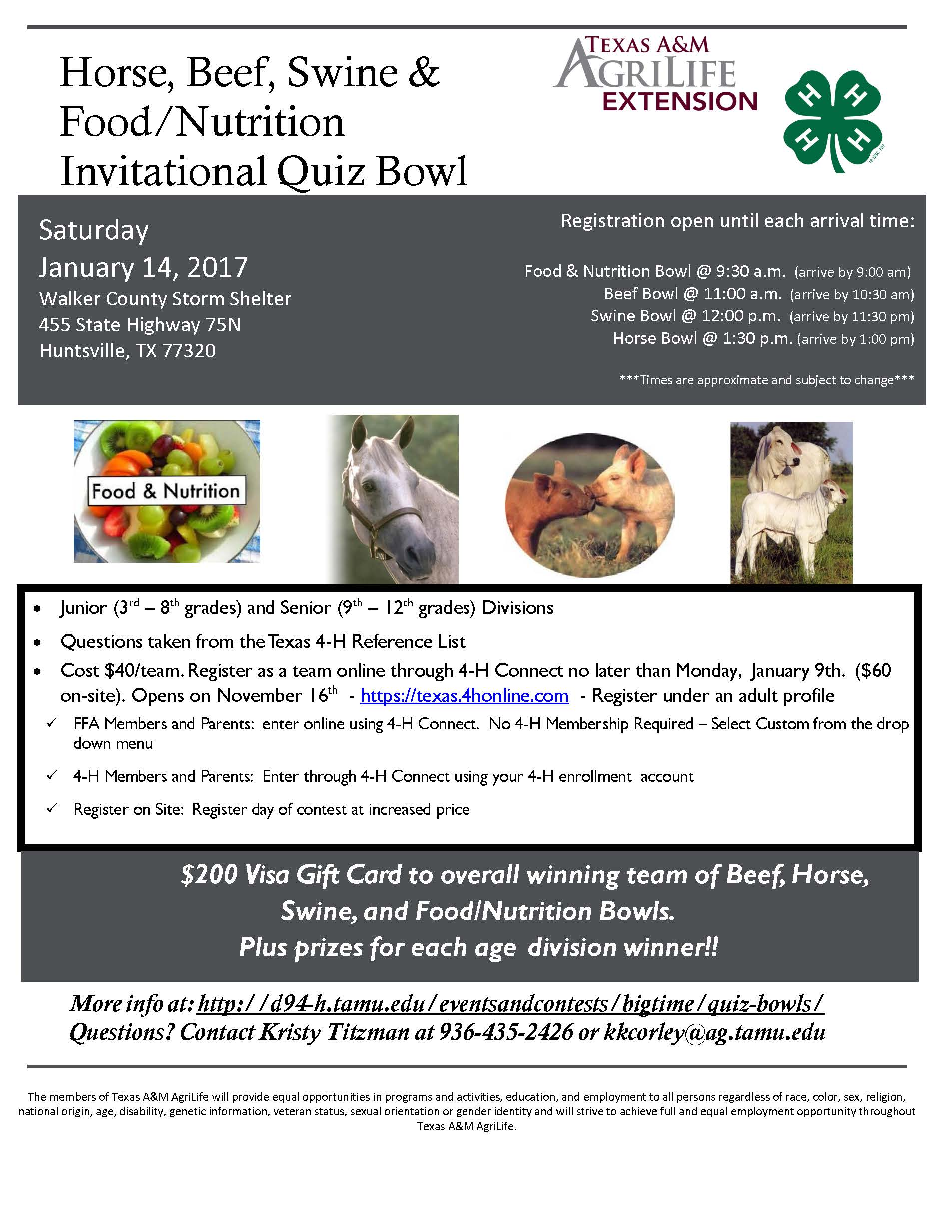 Invitational Quiz Bowl For Horse Beef Swine Amp Food Nutrition