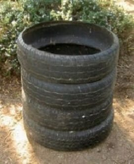 snail housing construction/ stacked tyres
