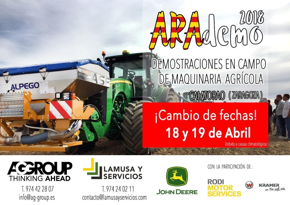 ARAdemo 2018, la mayor demostración de maquinaria agrícola de Aragón