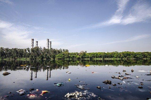 Desechos tóxicos y sedimentos producidos por una industria