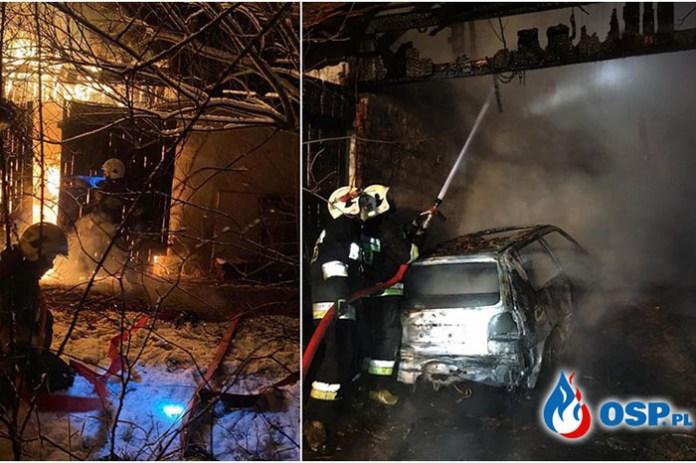 Spłonął budynek gospodarczy i samochód pożar na Opolszczyźnie