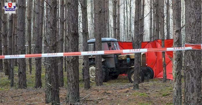 ciągnik, wypadek na wsi, wypadek ciągnika, rolnik, Biłgoraj