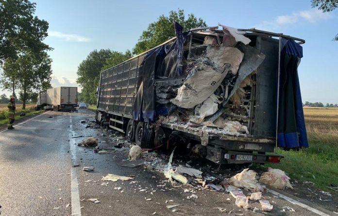 Samochód ciężarowy najechał na tył ciężarówki transportującej żywy drób
