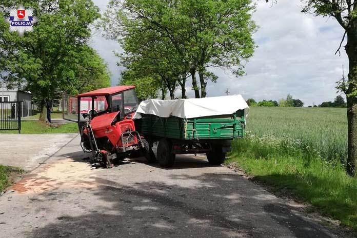 rolnik, ciągnik, wypadek na wsi, zderzenie ciągnika, wypadek ciągnika