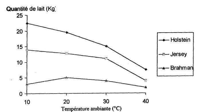 Figure 13: Effet de la chaleur sur la production laitière. (Berman et Meltzer, 1973).