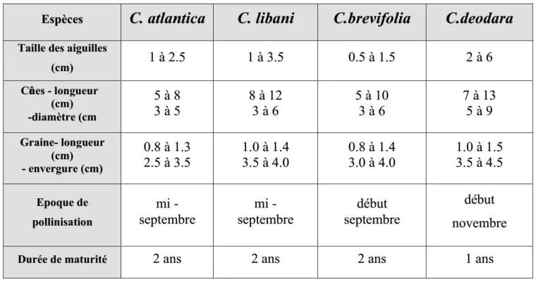 Tableau 1: Caractères botaniques et biologiques des quatre espèces du cèdre (FARJON, 1990 et TOTH, 2005)