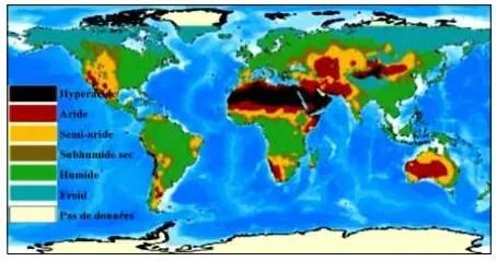 Figure 1 : Carte des zones arides dans le monde (wri, 2002)