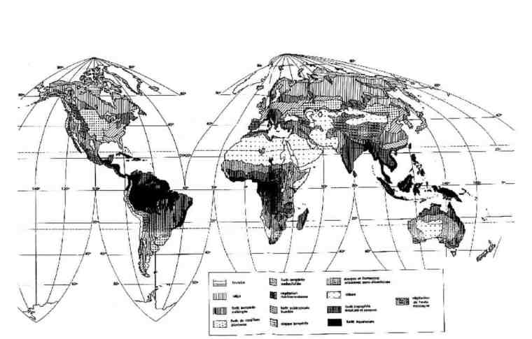 شكل(3) :توزیع الأقاليم النباتية على سطح الكرة الأرضية (Salanonو 1995، Lacoste).