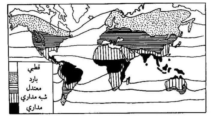 شكل(2) :المناطق الحرارية حسب تصنيف كوبن في (1963 Miller).