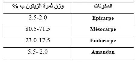 جدول 08: المكونات الفیزیائیة لثمرة الزیتون.