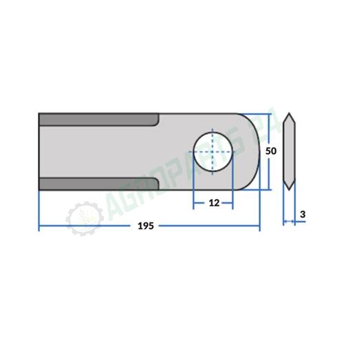 RASSPE 195x50x3mm Ø-12 - 060030, Z35241 2