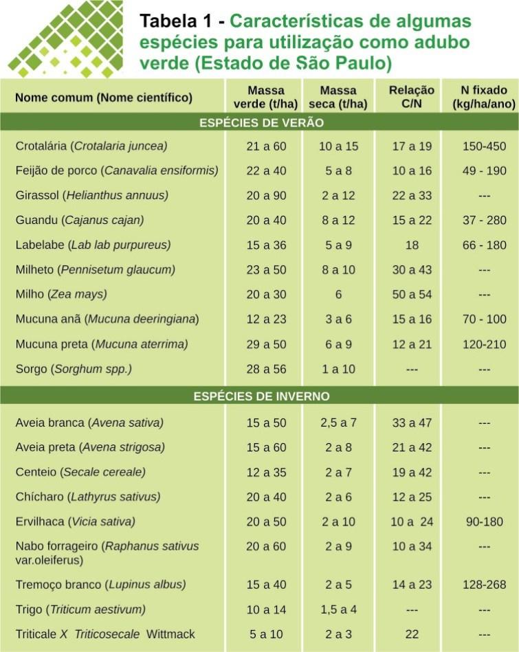 Espécies para adubação verde