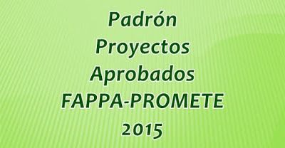 Padrón de proyectos aprobados FAPPA y PROME 2015
