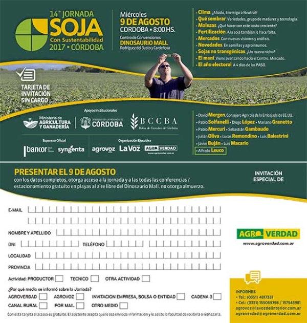 Invitacion de Agroverdad Soja 2017 w