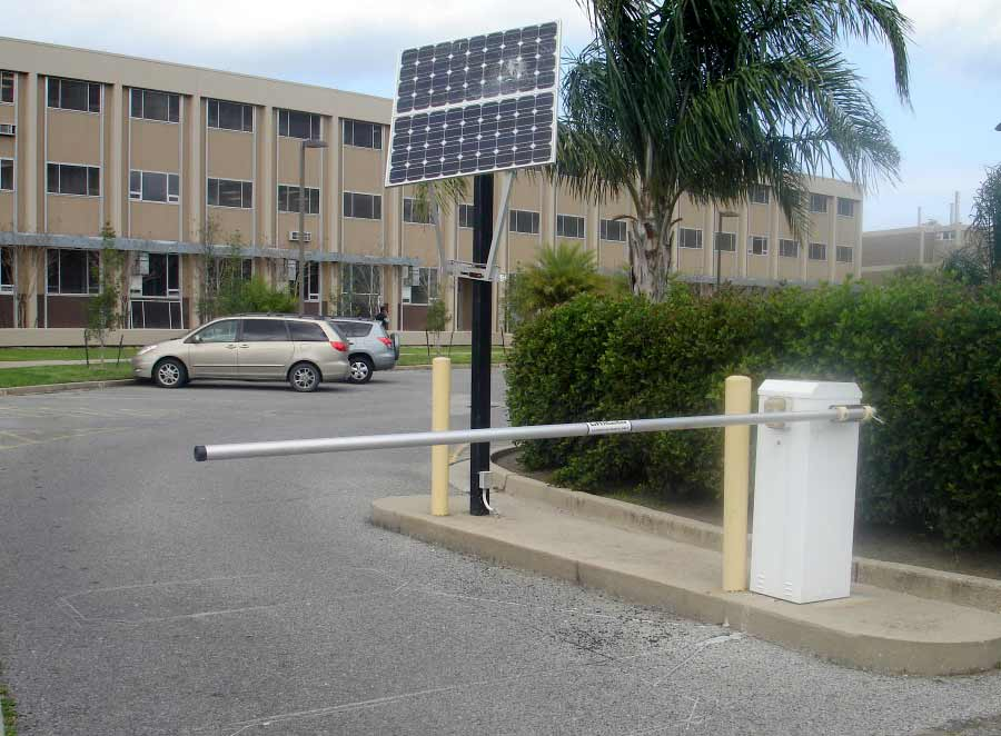Barrier Arm with a Solar Panel.
