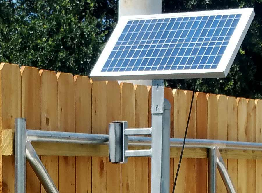 Solar Panel on Wood Fence in New Orleans.