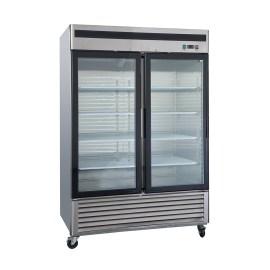 Refrigerador industrial inox 2 ptas vidrio