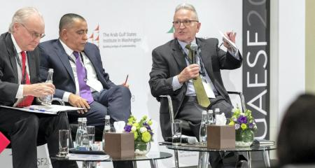 (From left) Timothy A. Lenderking, Mohammed Abulahoum, and Stephen A Seche at the third UAE Security Forum in Abu Dhabi, United Arab Emirates. (Antonie Robertson / The National)