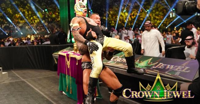 Joud al-Dajani, right, and Sultan al-Harbi commenting on a WWE match in Saudi Arabia (Sultan al-Harbi)