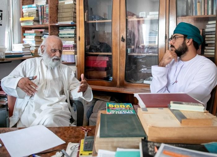 "Turki al-Balushi, right, interviews Sadeq Jamal Sulaiman for the podcast ""al-Sekka"" (Turki al-Balushi)"