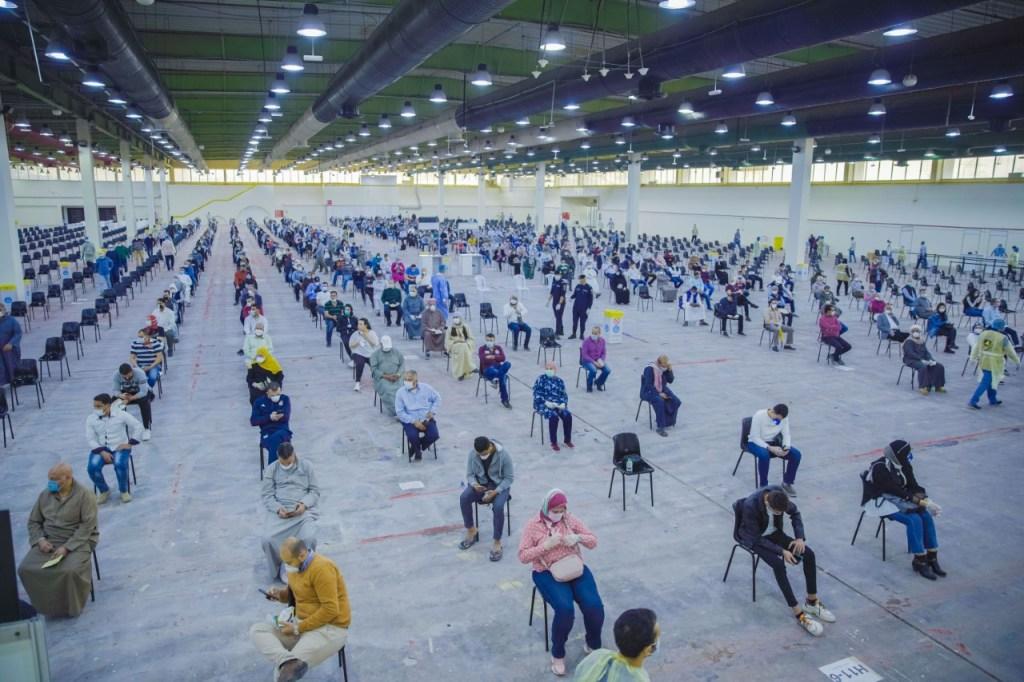 Coronavirus testing site at the Kuwait International Fair grounds, March 17 (Photo by Abdulrahman al-Bedah)