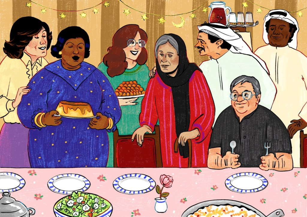 "Artwork titled ""Iftar time at Gmasha's"" (1/3) (Photo provided by artist Alia Al Hammadi, commissioned by @lettersfromnoor)"