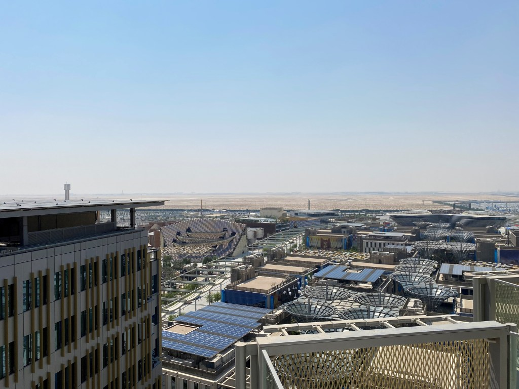 The Expo 2020 Dubai site seen from a hotel rooftop in Dubai, United Arab Emirates, Sept. 14. (REUTERS/Alexander Cornwell)
