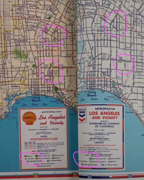 WWII Road Map Censorship in the United States      American     H M  Gousha map of Los Angeles  1940 on the left and 1942 at the right