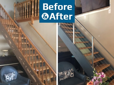 Before And After Archives Agsstainless Com   Diy Glass Stair Railing   Staircase Makeover   Modern Stair Parts   Floating Stairs   Loft Railing   Wood