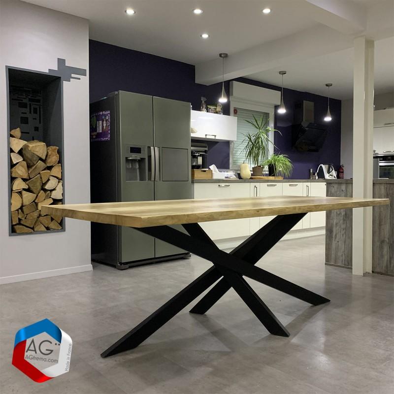 table live edge pieds type mikado loxias acier et bois massif