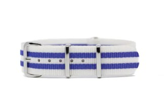 18mm white and purple nylon watch strap