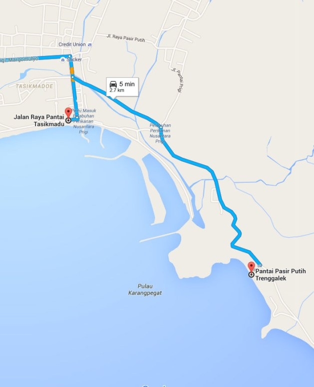 Peta Jarak Pantai Prigi ke Pantai Karanggongso