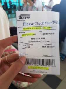 Tiket KTM Butterworth ke KL Sentral