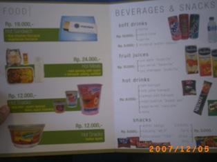Daftar Harga Makanan di Mandala Airline